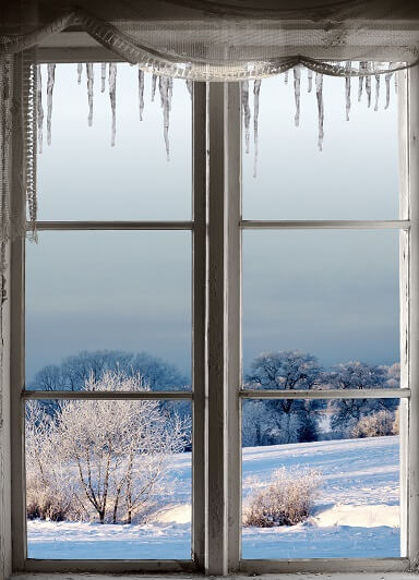 old window in winter